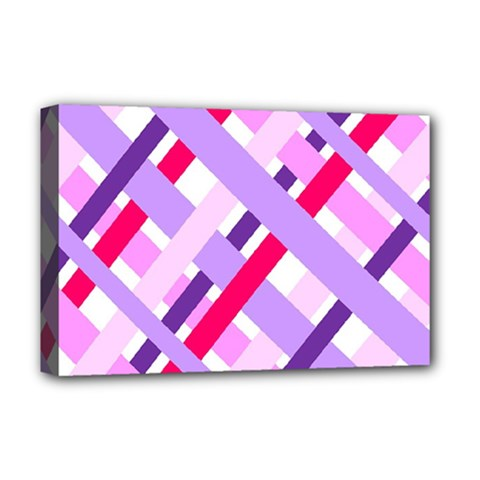 Diagonal Gingham Geometric Deluxe Canvas 18  x 12
