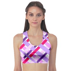 Diagonal Gingham Geometric Sports Bra