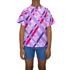 Diagonal Gingham Geometric Kids  Short Sleeve Swimwear