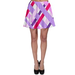 Diagonal Gingham Geometric Skater Skirt