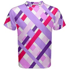 Diagonal Gingham Geometric Men s Cotton Tee