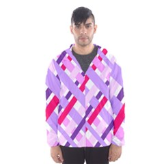 Diagonal Gingham Geometric Hooded Wind Breaker (Men)