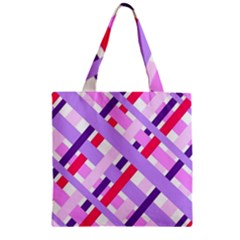 Diagonal Gingham Geometric Zipper Grocery Tote Bag