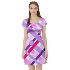 Diagonal Gingham Geometric Short Sleeve Skater Dress