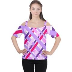 Diagonal Gingham Geometric Women s Cutout Shoulder Tee