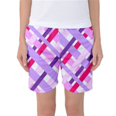 Diagonal Gingham Geometric Women s Basketball Shorts