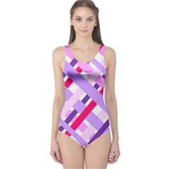 Diagonal Gingham Geometric One Piece Swimsuit