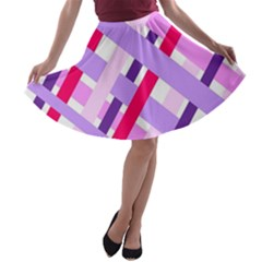 Diagonal Gingham Geometric A-line Skater Skirt