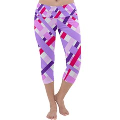 Diagonal Gingham Geometric Capri Yoga Leggings