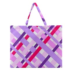 Diagonal Gingham Geometric Zipper Large Tote Bag