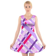 Diagonal Gingham Geometric V-Neck Sleeveless Skater Dress