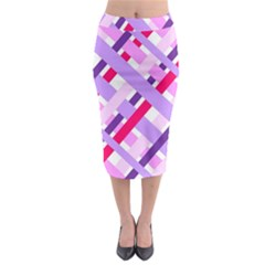 Diagonal Gingham Geometric Midi Pencil Skirt