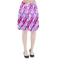 Diagonal Gingham Geometric Pleated Skirt