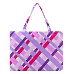 Diagonal Gingham Geometric Medium Tote Bag