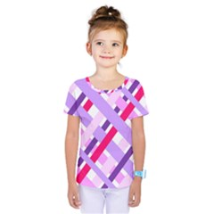 Diagonal Gingham Geometric Kids  One Piece Tee
