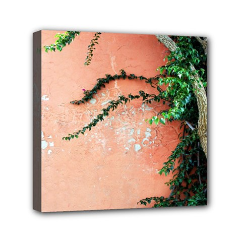 Background Stone Wall Pink Tree Mini Canvas 6  x 6