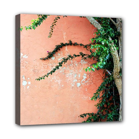 Background Stone Wall Pink Tree Mini Canvas 8  x 8