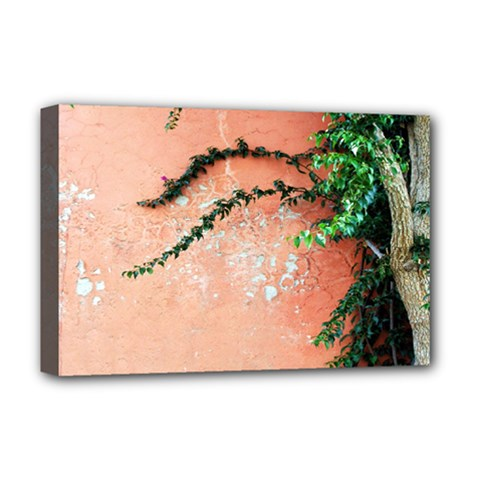 Background Stone Wall Pink Tree Deluxe Canvas 18  x 12
