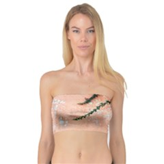 Background Stone Wall Pink Tree Bandeau Top