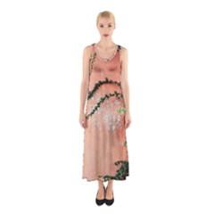 Background Stone Wall Pink Tree Sleeveless Maxi Dress