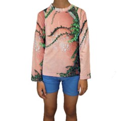 Background Stone Wall Pink Tree Kids  Long Sleeve Swimwear