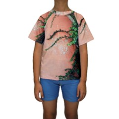 Background Stone Wall Pink Tree Kids  Short Sleeve Swimwear