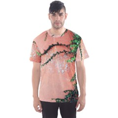 Background Stone Wall Pink Tree Men s Sport Mesh Tee