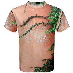 Background Stone Wall Pink Tree Men s Cotton Tee