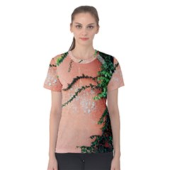 Background Stone Wall Pink Tree Women s Cotton Tee