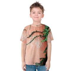 Background Stone Wall Pink Tree Kids  Cotton Tee