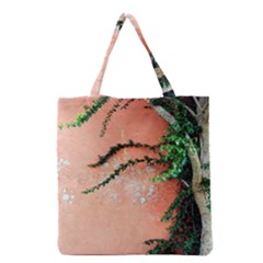 Background Stone Wall Pink Tree Grocery Tote Bag