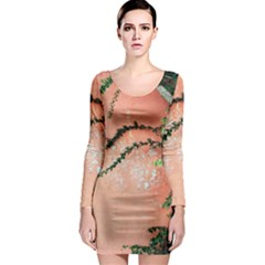 Background Stone Wall Pink Tree Long Sleeve Bodycon Dress