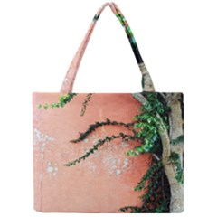 Background Stone Wall Pink Tree Mini Tote Bag