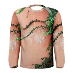 Background Stone Wall Pink Tree Men s Long Sleeve Tee