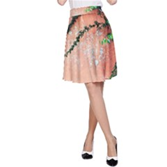 Background Stone Wall Pink Tree A-Line Skirt