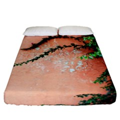 Background Stone Wall Pink Tree Fitted Sheet (Queen Size)