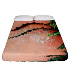 Background Stone Wall Pink Tree Fitted Sheet (King Size)