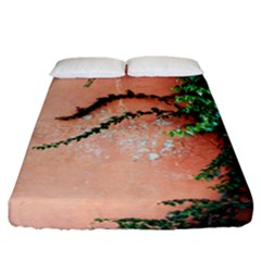 Background Stone Wall Pink Tree Fitted Sheet (California King Size)
