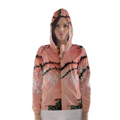 Background Stone Wall Pink Tree Hooded Wind Breaker (Women)