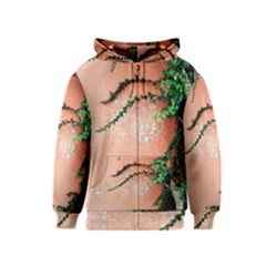 Background Stone Wall Pink Tree Kids  Zipper Hoodie