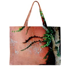 Background Stone Wall Pink Tree Zipper Mini Tote Bag