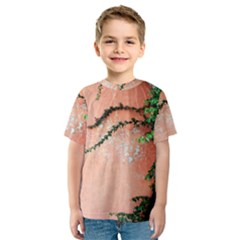 Background Stone Wall Pink Tree Kids  Sport Mesh Tee