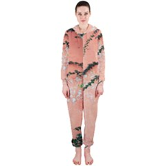 Background Stone Wall Pink Tree Hooded Jumpsuit (Ladies)