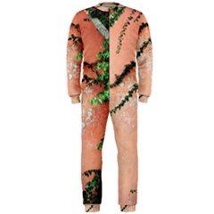 Background Stone Wall Pink Tree OnePiece Jumpsuit (Men)