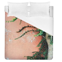 Background Stone Wall Pink Tree Duvet Cover (Queen Size)
