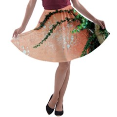 Background Stone Wall Pink Tree A-line Skater Skirt