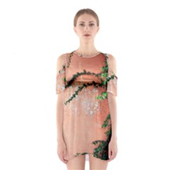 Background Stone Wall Pink Tree Cutout Shoulder Dress