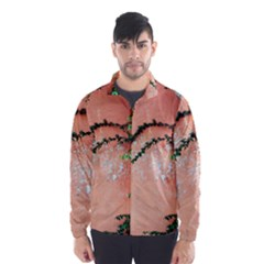 Background Stone Wall Pink Tree Wind Breaker (Men)