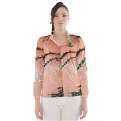 Background Stone Wall Pink Tree Wind Breaker (Women)