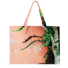 Background Stone Wall Pink Tree Large Tote Bag
